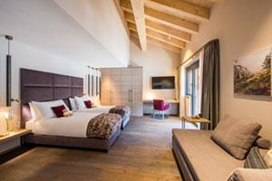 Schlafzimmer im Christiana Penthouse in Zermatt Schweiz