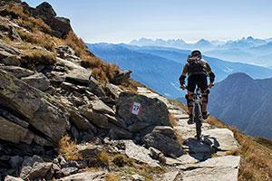 Ein Mountainbiker fährt in der Bergregion des Südtiroler Ahrntals mit Blick auf die Gipfel